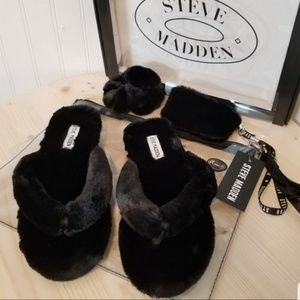 Steve Madden black slipper 9/10 large gift set